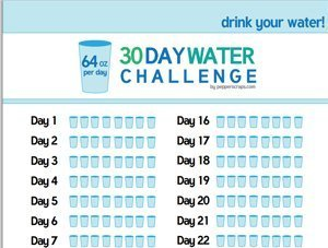 64 oz 30 Day Water Challenge Tracking Sheet