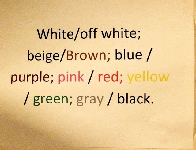 Color Chart for Clothing Org