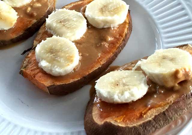 Sweet Potato Taost Banana and Peanut Butter