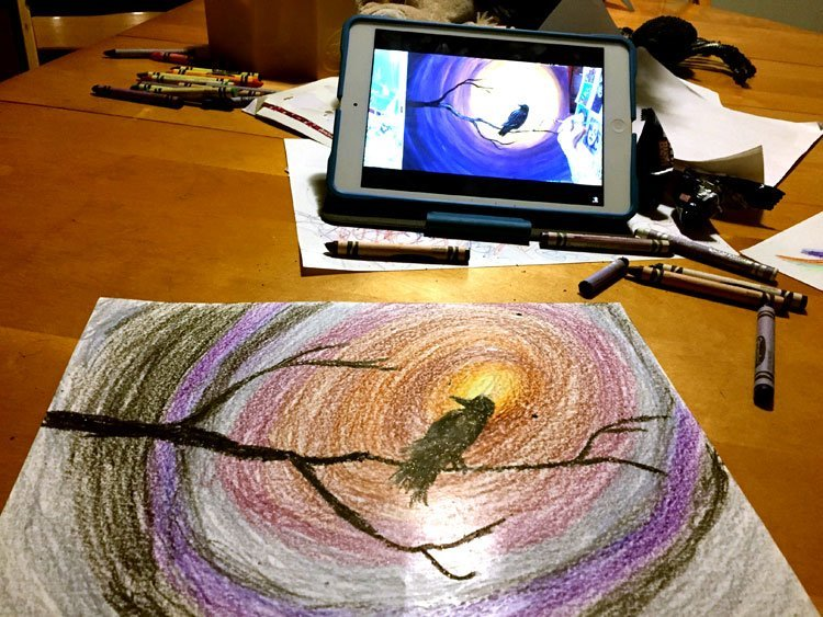 DIY Kids Paint Night with Crayons