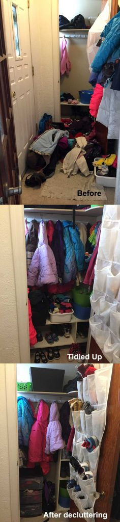 Before and After Closet Decluttering