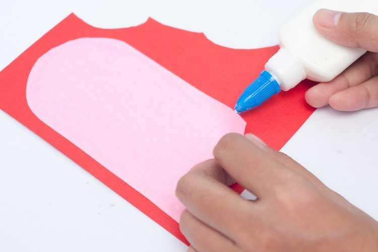 Glue pattern down. Heart Card