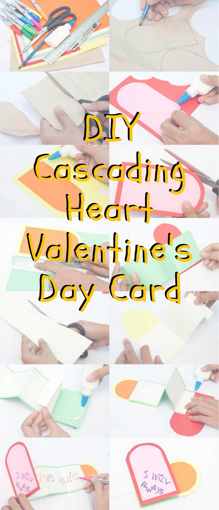 DIY Cascading Heart Valentine's Day Card Craft