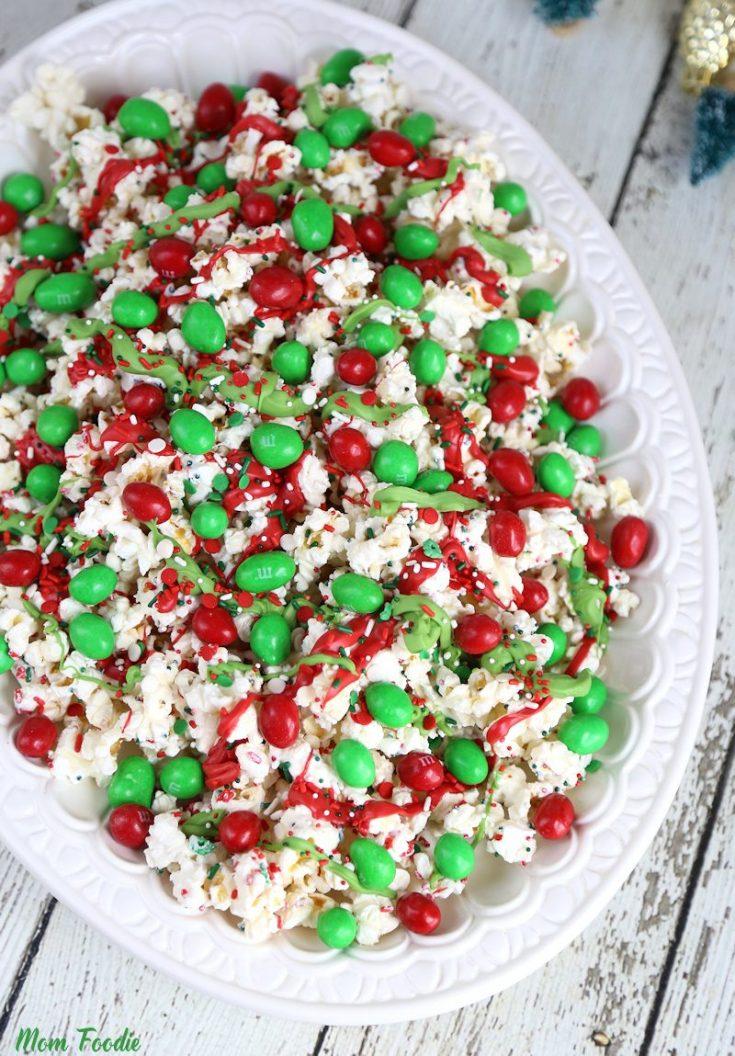 Christmas Popcorn | White Chocolate Popcorn Snack Mix