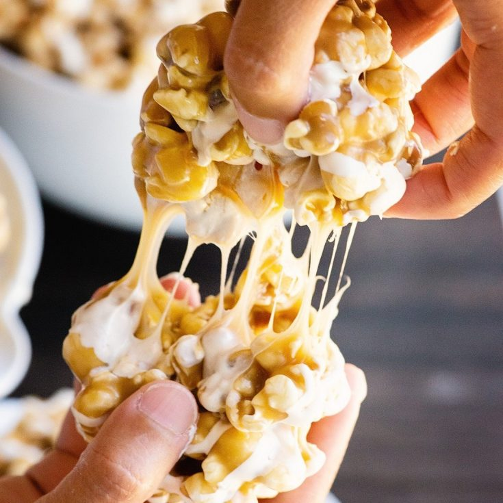 Butterbeer Popcorn recipe and video - 3 ways - crunchy, gooey and popcorn balls