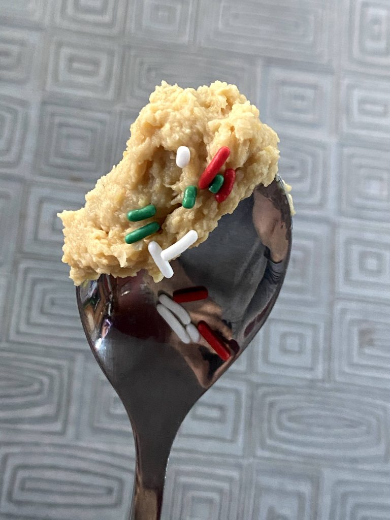 Cake Batter Hummus on a Spoon